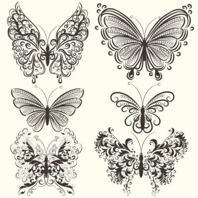Poster Coleção do vetor redemoinho borboletas abstratas para o projeto