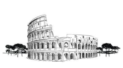 Poster Coliseu em Roma, Itália. Marco Coliseum, paisagem da cidade.