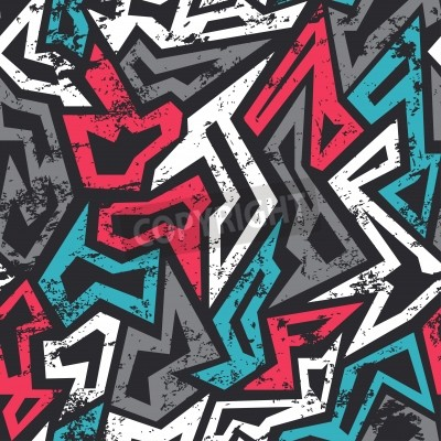Poster colored graffiti seamless pattern with grunge effect