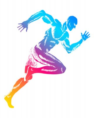 Poster Colorful figure of a man running