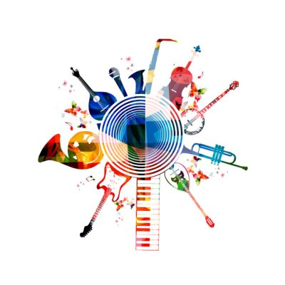 Poster Colorful instrumentos musicais fundo