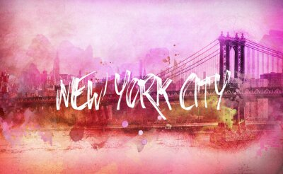 Poster Colorido, artístico, Cor-de-rosa, New York City, panorama
