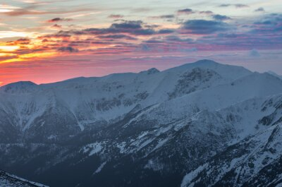 Poster Colorido, montanha, pôr do sol, panorama, inverno, ocidental, tatras