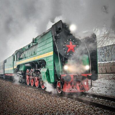 Poster Comboio de passageiros retro vapor passa rápido.