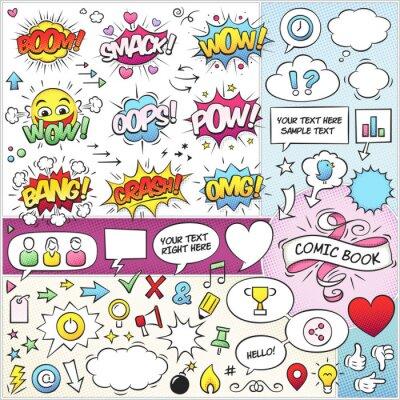 Poster Comic Elements Livro Vector Pack
