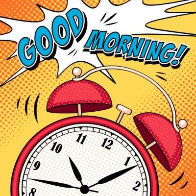 Poster Comic ilustração com despertador em estilo pop art