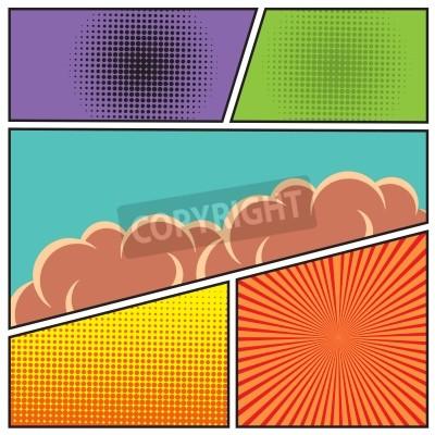 Poster Comics estilo pop art modelo de layout em branco com nuvens vigas e pontos padrão ilustração vetorial fundo