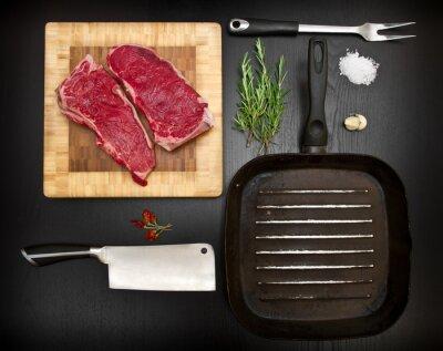Poster Composição, cru, costela, cozinha, ferramentas, pretas, madeira