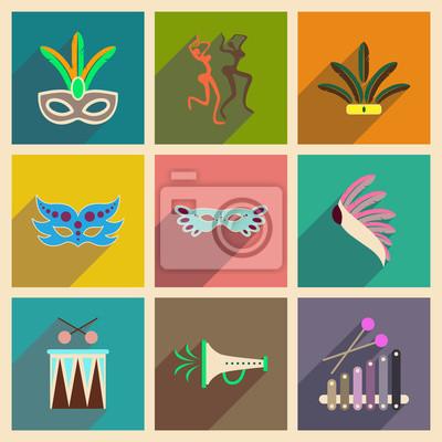 Poster Conceito de ícones planos com sombra longa Carnaval brasileiro