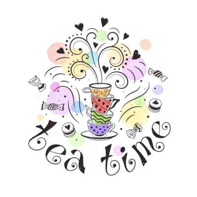 Poster Conceito do cartaz do tempo do chá. Projeto de cartão do tea party. Entregue a ilustração desenhada do doodle com teapots, copos e doces.