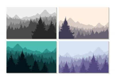 Poster Conceito ilustração paisagem floresta inverno set