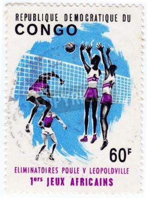Poster CONGO - CIRCA 1975: selo impresso no Congo mostra desportistas valleyball, circa 1975