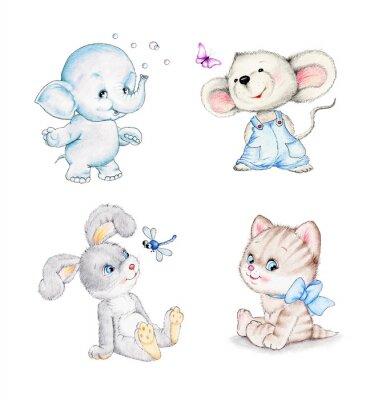 Poster Conjunto de animais: elefante, rato, gatinho, coelho