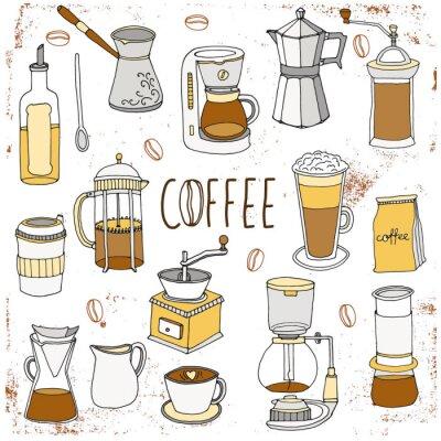 Poster Conjunto de café. Coleção desenhada mão