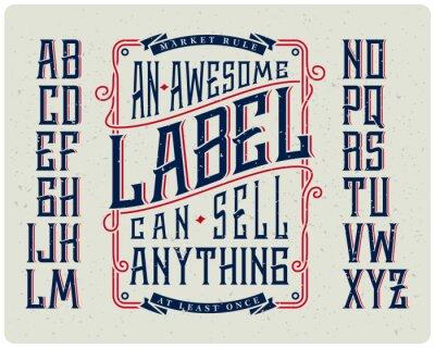 Poster Conjunto de fontes retro com ornamento quadro para fazer o projeto da etiqueta