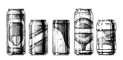 Poster Conjunto de latas de bebidas