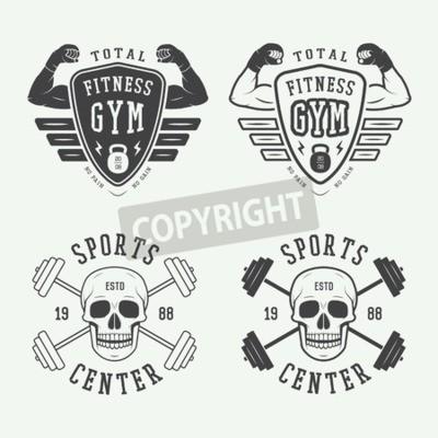 Poster Conjunto de logotipos de ginásio, etiquetas e emblemas em estilo vintage