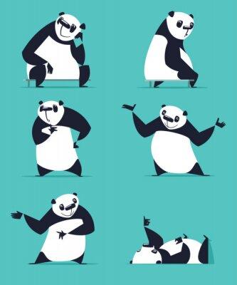 Poster Conjunto de Panda em várias poses. Sentado, sonhando, pensando, mostrando, mentindo, convidando, girando. Cada Panda está em uma camada separada.