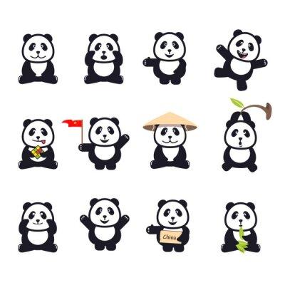 Poster Conjunto de pandas engraçadas bonitos dos desenhos animados