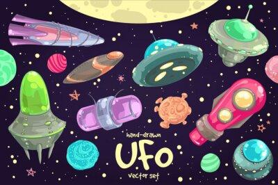 Poster Conjunto de UFO desenhado à mão
