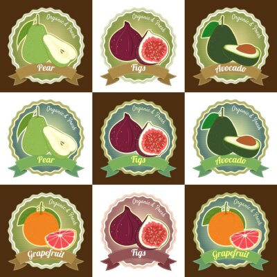 Poster Conjunto de várias frutas frescas prêmio etiqueta de etiqueta de etiqueta de qualidade adesivo