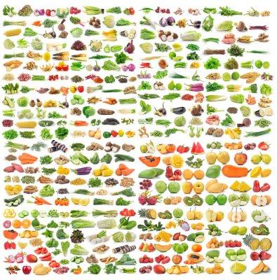 Poster Conjunto de vegetais e frutas no fundo branco