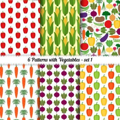Poster Conjunto, seamless, padrões, diferente, legumes