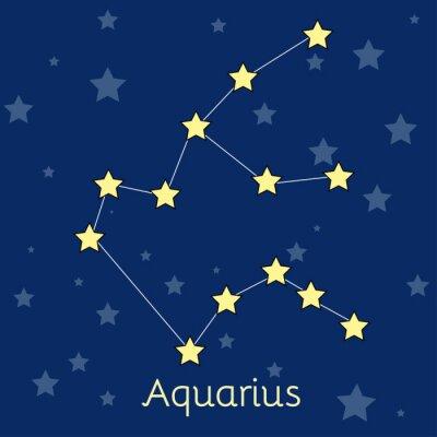 Poster Constelação do zodíaco da água do Aquarius com as estrelas no cosmos. Imagem vetorial