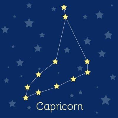 Poster Constelação do zodíaco da terra do Capricórnio com as estrelas no cosmos. Imagem vetorial