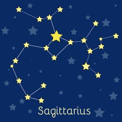 Poster Constelação do zodíaco do fogo do Sagitário com as estrelas no cosmos. Imagem vetorial