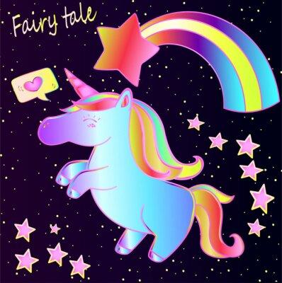 Poster Conto de fadas - bonito unicórnio de néon e arco-íris com corações e estrelas em um fundo de gradiente escuro