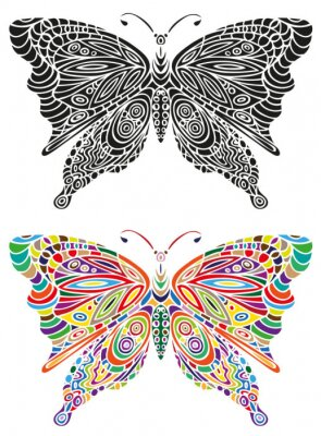 Poster Cor do ornamento da borboleta e preto