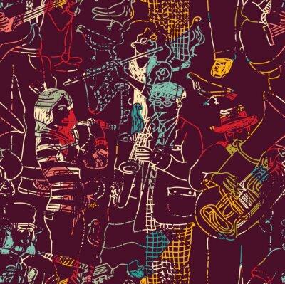 Poster Cor, música, jazz, faixa, seamless, padrão