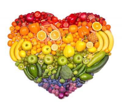 Poster Coração do arco-íris de frutas e legumes