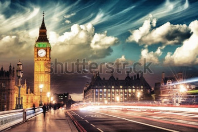 Poster Cores bonitas de Big Ben da ponte de Westminster no por do sol - Londres.