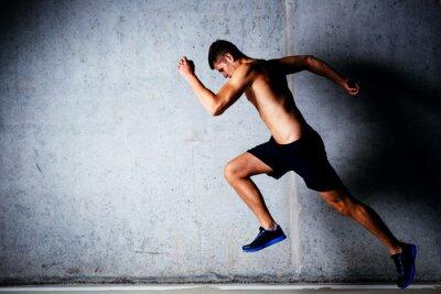 Poster Corredor, sprinting, contra, concreto, parede, garagem