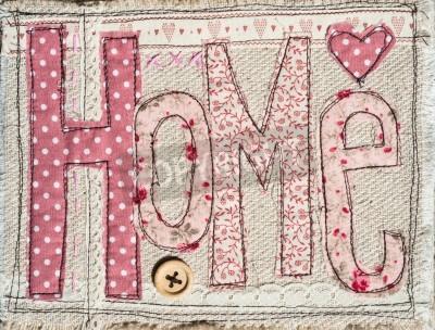 Poster costurou chique fundo hometext decoração