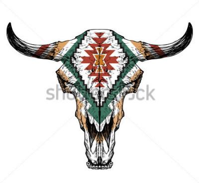 Poster Crânio de Touro / auroch com os chifres no fundo branco. com decorações tradicionais