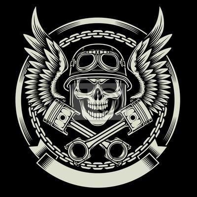 Poster Crânio do motociclista do vintage com asas e Pistons Emblem