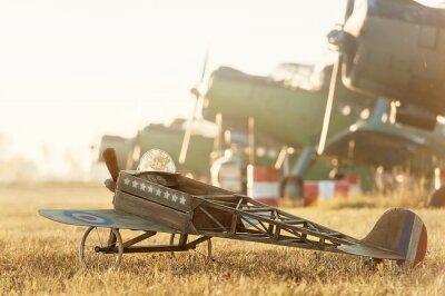 Poster Criança, modelo, avião, estacionado, retro, aviões