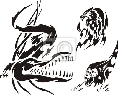 Crocodilo Leao E Pantera Predadores Tribais Cartazes Para A
