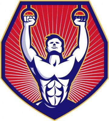 Poster Crossfit Formação Atleta Anéis Retro