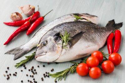 Poster Cru, dorado, fresco, peixe, legumes, temperos