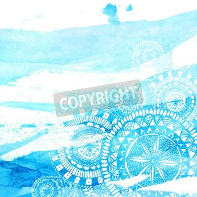 Poster Cursos azuis da escova da aguarela com a mão branca tirada mandalas - doodle redondo elementos indianos. Projeto do verão do vetor.