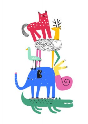 Poster Cute animals. T-shirt graphics for kids vector illustration. Fun cartoon animals pyramid greeting card.