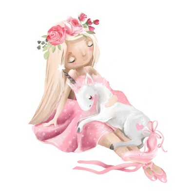 Poster Cute ballerina, ballet girl with flowers, floral wreath and baby unicorn