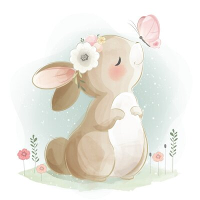 Poster Cute Bunny and the Butterfly
