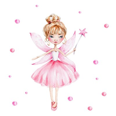 Poster Cute cartoon fairy with magic wand and wings; watercolor hand draw illustration; with white isolated background