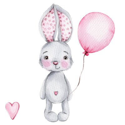 Poster Cute cartoon little bunny with pink balloon; watercolor hand draw illustration; with white isolated background
