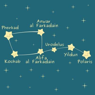 Poster Cute cartoon pouco dipper constelação com o nome da ilustração vetorial estrelas